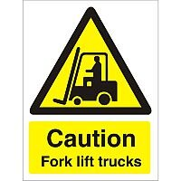 Warning Sign 300x400 1mm Plastic Caution - Fork Lift Trucks Pack 1