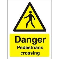 Warning Sign 300x400 1mm Plastic Danger Pedestrians Crossing