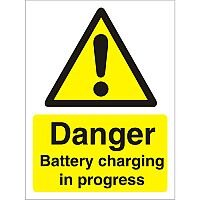 Warning Sign 300x400 1mm Plastic Danger - Battery Charging