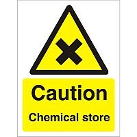 Warning Sign 300x400 1mm Plastic Caution - Chemical Store Pack of 1