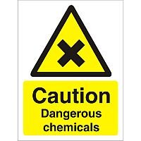 Warning Sign 300x400 1mm Plastic Caution Dangerous Chemicals
