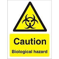 Warning Sign 300x400 1mm Plastic Caution Biological Hazard Pack of 1
