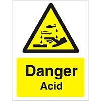Warning Sign 300x400 1mm Semi Rigid Plastic Danger - Acid