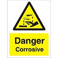 Warning Sign 300x400 1mm Plastic Danger - Corrosive