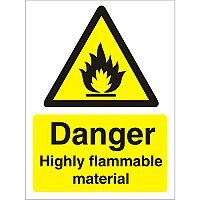 Warning Sign 300x400 1mm Danger Highly Flammable Material Pack of 1