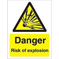 Warning Sign 300x400 1mm Plastic Danger - Risk of Explosion