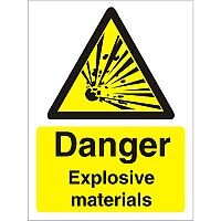 Warning Sign 300x400 1mm Plastic Danger Explosive Materials