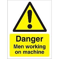 Warning Sign 300x400 Plastic Danger Men Working on Machine