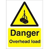Warning Sign 300x400 1mm Plastic Danger - Overhead Load