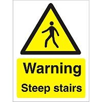 Warning Sign 300x400 1mm Plastic Warning - Steep Stairs