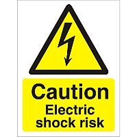 Warning Sign 300x400 1mm Plastic Caution Electric Shock Risk