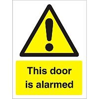 Warning Sign 300x400 1mm Plastic This Door is Alarmed