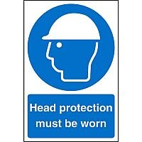 Stewart Superior Warehouse Signs 600x400 1mm Semi Rigid Plastic - Head protection must be worn