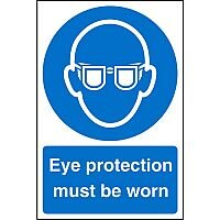 Stewart Superior Warehouse Signs 600x400 1mm Semi Rigid Plastic - Eye protection must be worn