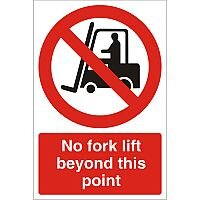 Stewart Superior Warehouse Signs 600x400 1mm Semi Rigid Plastic - No fork lift beyond this point