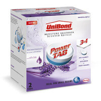 UniBond Power Tab 300g Pearl Relaxing Moisture Absorber Scented Tab 3-in-1 Refill Lavender Pack of 2 Tablets