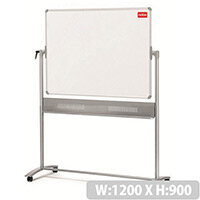 Nobo Prestige Enamel Mobile Board Dual Sided Magnetic W1200xH900mm Steel Grey Ref 1901033