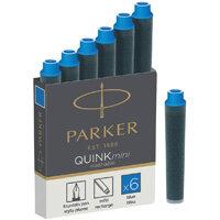 Parker Quink Mini Cartridge Ink Refills Blue 1 x Pack of 6
