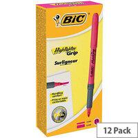 Bic briteliner Grip 1.6 to 3.3 mm Chisel Tip Highlighter Pen Pink 1 x Pack of 12 Highlighter Pens
