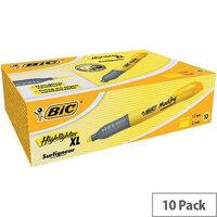 Bic Marking Highlighter XL Pen-shaped Highlighter Pen Yellow Pack of 10