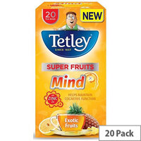 Tetley Super Fruits Tea Mind Exotic Fruits with Zinc Pack of 20 Tea Bags]