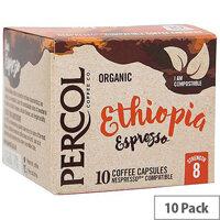Percol Ethiopian Espresso Nespresso Compatible Capsules Organic Coffee Strength 8 Pack of 10 Capsules
