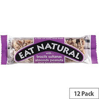 Eat Natural Energy Bar Made From Brazil Nuts Sultanas Almonds Apricots Peanuts and Hazelnuts 50g Pack 12