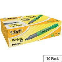 Bic Marking Highlighter XL Pen-shaped Highlighter Pen Green Pack of 10