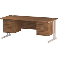 Rectangular Double Cantilever White Leg Office Desk With 2 Fixed Pedestals 3/2 Drawer Walnut W1800xD800mm