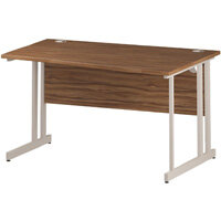 Wave Double Cantilever White Leg Right Hand Office Desk Walnut W1400mm