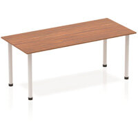 Modular Rectangular Table Walnut with Silver Tubular Steel Frame W1800xD800mm