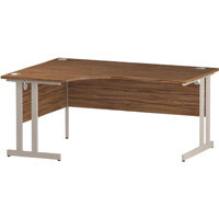 L-Shaped Corner Left Hand Double Cantilever White Leg Office Desk Walnut W1600mm
