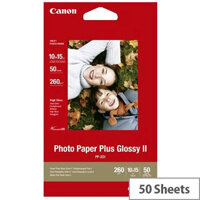 Canon PP-201 10 x 15cm./4 x 6 inch 260g/m2 Glossy II Plus Photo Paper 50 Sheets