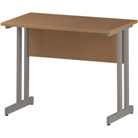 Rectangular Double Cantilever Silver Leg Slimline Office Desk Oak W1000xD600mm