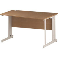 Wave Cable Managed White Leg Right Hand Office Desk Oak W1400mm