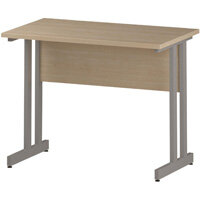 Rectangular Double Cantilever Silver Leg Slimline Office Desk Maple W1000xD600mm