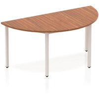 Modular Semi-Circular Table Walnut with Silver Box Frame W1600xD800mm