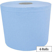 Maxima Centrefeed Cleaning Paper Towels Tissue Rolls  3-Ply 114m Blue Pack of 6