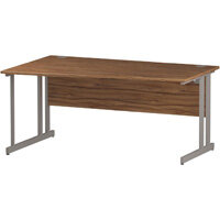 Wave Double Cantilever Silver Leg Left Hand Office Desk Walnut W1600mm