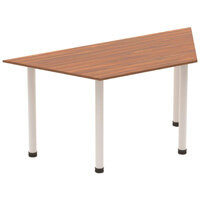 Modular Trapezodial Table Walnut with Silver Tubular Steel Frame W1600xD800mm