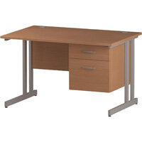 Rectangular Double Cantilever Silver Leg Office Desk With Fixed 2 Drawer Pedestal Beech W1200xD800mm