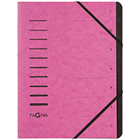 Pagna Pro A4 7 Compartment Sorting File Dark Pink Pack of 5