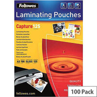 Fellowes  A3  Glossy 125 Micron Laminating Pouch (Pack of 100)