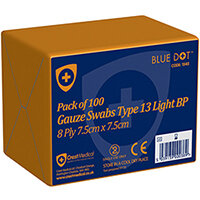 Click Medical Blue Dot 7.5 x 7.5cm Non-Sterile Gauze Swabs Pack of 100 Ref CM0454