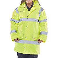 B-Seen High Visibility Fleece Lined Traffic Jacket Size 5XL Saturn Yellow Ref CTJFLSY5XL