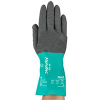 Ansell AlphaTec 15 Gauge, Size 6 Chemical Resitant Work Gloves Grey/Green