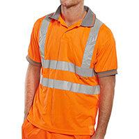 B-Seen Short Sleeve Hi-Vis Polo Shirt Size L Orange Ref BPKSENORL