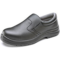 Click Footwear Micro-Fibre Washable Slip On Safety Work Shoes Steel Toecap Size 10 Black - Shock Absorber Heel, Anti-Static, Slip Resistant Ref CF83310