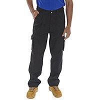 Click Traders Newark 320gsm Cargo Work Trousers 30 inch Waist with Regular Leg Black Ref CTRANTBL30