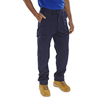 Super Click Workwear Drivers Work Trousers 52 inch Waist with Regular Leg Navy Blue Ref PCTHWN52